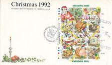 (96259) CLEARANCE GB Guernsey FDC Christmas Seasonal Fayre minisheet 1992