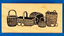 Row of Baskets with Apples - Small Border Rubber Stamp - Delafield E432