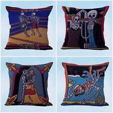 US Seller- 4pcs cushion covers sugar skull skeleton discount decorative pillows