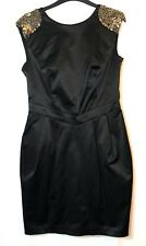 902dbe5af5 BLACK SATIN SHIFT LADIES PARTY EVENING DRESS SIZE 12 WAREHOUSE BEADED  SEQUINS