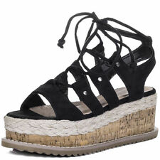 Wedge Unbranded Lace Up Synthetic Sandals & Flip Flops for Women