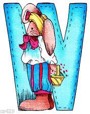"5"" Alma lynn bunny animal letter w alphabet monogram fabric applique character"