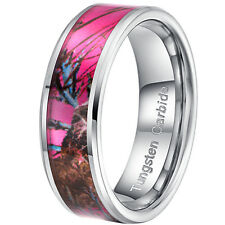 8mm Tungsten Carbide Pink Ring Women's Camo Hunting Camouflage Wedding Band