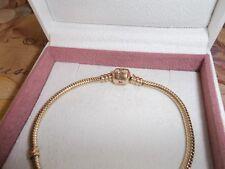 Genuine Authentic Pandora 14ct Gold Barrel Clasp Bracelet 550702 20cm 585 ALE