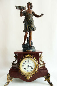 Heavy Marble Art Nouveau French Clock 1900 statue MUSIQUE by C. ANFRIE