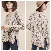 Anthropologie HWR Monogram Size M Soft Baby Wool Blend V-Neck Pullover Sweater