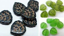 17MM LARGE CZECH PRESSED GLASS LEAF/DROP BEADS - HOLE THROUGH - (8PCS)