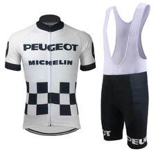 Mens Retro Peugeot BP Michelin cycling jersey And Bib shorts sets Retro