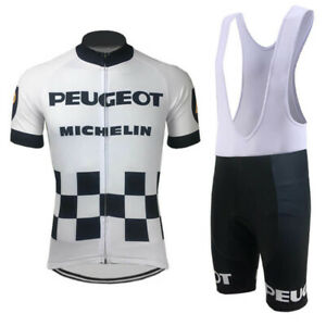 Mens Retro Peugeot BP Michelin cycling jersey And Bib shorts sets Retro