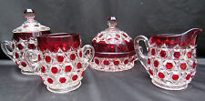 Pattern Glass Ruby Stained Red Block Sugar, Creamer, Butter, Spooner Table Set