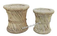 Collectible Nautical Bamboo stool Mudda Natural ,Set of Two