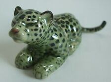 * 2 in 1 Handmade Ceramic Big Cat Green Leopard Salt and Pepper Shakers Set *
