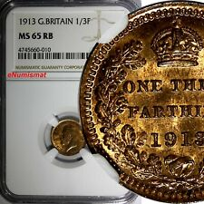 GREAT BRITAIN George V Bronze 1913 1/3 Farthing NGC MS65 RB 1 YEAR TYPE KM# 823