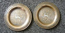 Art Deco, Islamic Damascene, Pair of Silver on Copper Elk Design Plates / Dishes