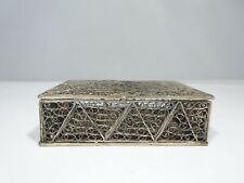 19TH CENTURY STERLING SILVER FILIGREE FLORAL BOX 23 DWT