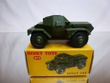 DINKY TOYS 673 MILITARY SCOUT CAR - ARMY GREEN 1:43? - GOOD CONDITION IN BOX