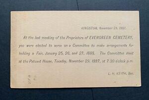 1887 KINGSTON MA FANCY CANCEL AD POSTAL CARD !! EVERGREEN CEMETERY FAIR POSTCARD