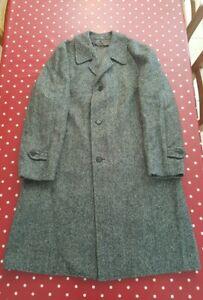 Vintage Dunn & Co grey wool tweed overcoat 44 Reg PRISTINE