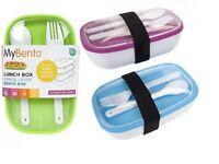 MyBento Plastic Lunch Box With Silicone Lid Cutlery Kids School Work Box Single