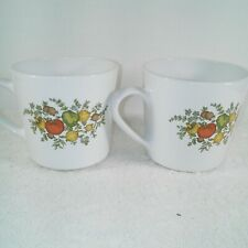 Vvintage Centura by Corning Set Of 2 Coffee Tea Cups Spice Of Life Flat Bottom