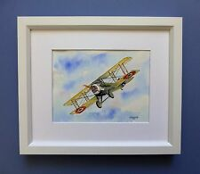 """Original Framed Line & Wash Watercolour """"French SPAD X111 WW1 Fighter."""""""