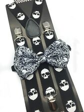 New Halloween Skull Design Bow Tie & Suspender Set Tuxedo Wedding Accessories