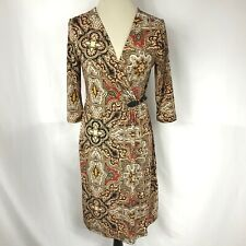 Charter Club Women Dress Wrap Elbow Sleeve Printed Size S