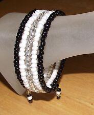 Elegant Black White Clear Beaded Wrap / Coil / Bangle Bracelet Glass Beads Gift