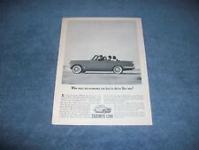 """1963 Triumph 1200 Vintage Ad """"Who Says an Economy Car Has to Drive Like One?"""""""