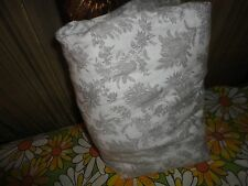 "RAYMOND WAITES GRAY WHITE FLORAL FULL FITTED SHEET SET 14"" POCKETS"