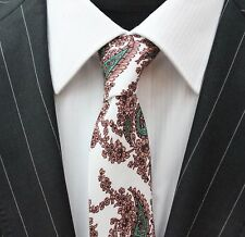 Tie Neck tie Slim White with Green & Brown Paisley Quality Cotton T6007
