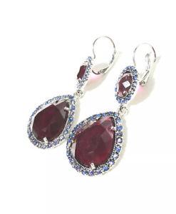Purple Faceted Large Rhinestone Gem Clip Earrings W/ Blue Crystal Studs. Fashion