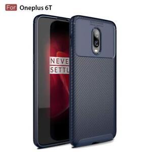 OnePlus 6T Shock Resistant Gel Slim Fit Carbon Fiber Hybrid Case Cover Blue TPU