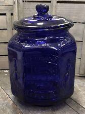 Planters Mr. Peanut PENNANT 5¢ PEANUTS Cobalt Blue Glass Octagonal Jar