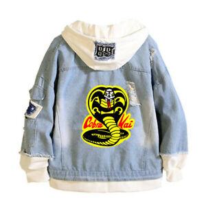 Cobra Kai autumn Denim Jacket casual Hoodies Coat jeans Loose Outerwear