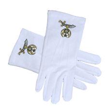 Masonic Shriner Symbol Cotton White Gloves For Freemasons. Masonic Regalia