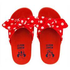 NWT Disney Store Minnie Mouse Red Slides Sandals Shoes Girls Polka Dots