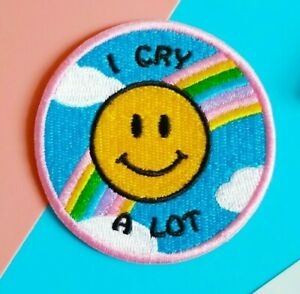 I Cry A Lot 🌈 Mental Health Awareness Iron Sew on Patch Crybaby pastel rainbow