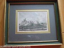Antica Stampa C1800'S colore litografia del Castello Okehampton del Nord DEVON incorniciato
