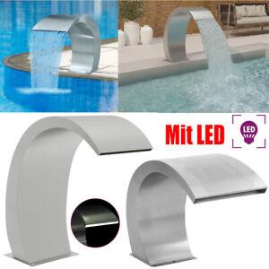 Schwalldusche Edelstahl LED Schwallbrause Wasserfall Pool Brunnen Schwimmbad Neu