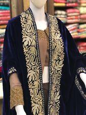 Blue Velvet Cape, Paisley Design Women Shawls, Blue Velvet Embroidered Poncho