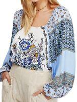 Free People Womens Positano Blouse Blue Medium M Paisley Billow Sleeve $128- 087