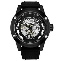 Stuhrling Men's Colossal 50 mm Automatic Self-Wind Skeleton Rubber Strap Watch