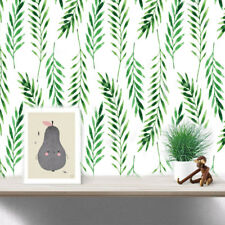 6 SHEETS REMOVABLE GREEN FERN LEAVES TROPICAL WALL DECAL STICKER ROOM DIY KAWAII