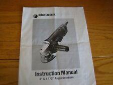 BLACK & DECKER INSTRUCTION ANGLE GRINDERS MANUAL 1988