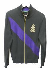 Ralph Lauren Black Purple Stripe Gold Royal Crest Logo Sweater Jacket M/L