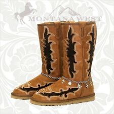 Montana West Winter Faux Fur Lined Suede Boots Shoes Jeweled Design WCO-BTS005