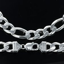 "Men's 26"" 14K White Gold Finish Solid Heavy Figaro Chain 8 MM Wide"
