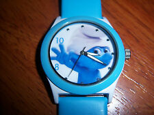 Stylish Cartoon Smurfs Design Band Quartz Movement Wrist Watch Blue NEW