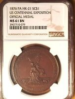 1876 US Centennial Exposition Medal, HK-21,NGC MS61: Colonies Free & Independent
